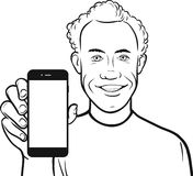 Line drawing of caribbean man showing a mobile app on a smart ph. Black and white isolated line vector illustration for coloring page or whiteboard presentation Stock Images
