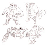 Line Drawing Cartoon rockers, bikers Royalty Free Stock Images