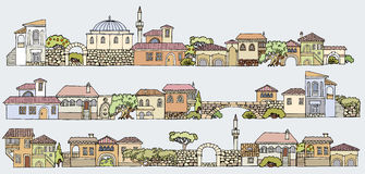 Line drawing.Cityscape elements  set.Hand drawn isolated s Stock Image