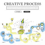 Line drawing of concept of creative process vector graphic. Also represents creativity, innovation, inventiveness, etc to be used web banners and as printed Stock Image