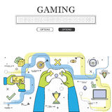 Line drawing of concept of gaming vector graphic. Also represents online games, video games, etc to be used web banners and as printed materials Stock Image