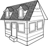 Line drawing of a cottage Stock Photos