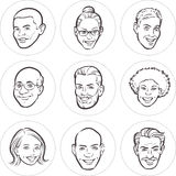 Line drawing of diverse people faces. Vector illustration of Line drawing of diverse people faces Stock Photography