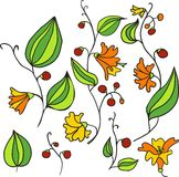 Line drawing doodle flowers Royalty Free Stock Photo