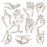 Line drawing doodle hands showing common signs vector collection. Gesture hand for communication, illustration of sketching hands royalty free illustration