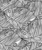 Line drawing fish black and white. Monochrome line drawing fish black and white with lines and patterns Royalty Free Stock Photo