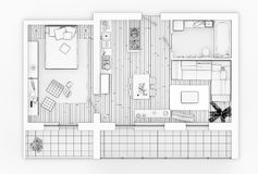 Line drawing floor plan on a white background. Mock up of furnished home apartment Stock Image