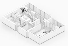 Line drawing floor plan on a white background. Mock up of furnished home apartment Royalty Free Stock Images