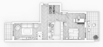 Line drawing floor plan on a white background. Mock up of furnished home apartment Stock Photo