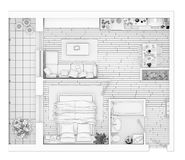 Line drawing floor plan on a white background. Mock up of furnished home apartment stock illustration