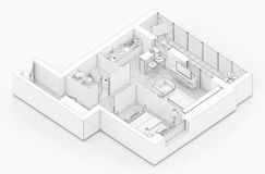 Line drawing floor plan on a white background. Mock up of furnished home apartment Stock Photos