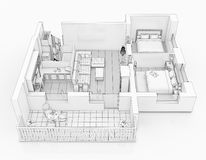 Line drawing floor plan on a white background. Mock up of furnished home apartment Royalty Free Stock Photo