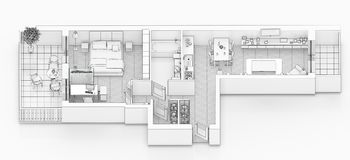 Line drawing floor plan on a white background. Mock up of furnished home apartment royalty free illustration