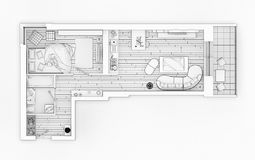 Line drawing floor plan on a white background. Mock up of furnished home apartment vector illustration