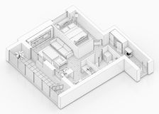 Line drawing floor plan on a white background. Mock up of furnished home apartment Royalty Free Stock Image