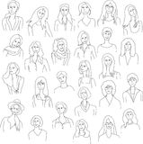 Line drawing group woman Royalty Free Stock Photo