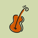 Line drawing of guitar musical concept Royalty Free Stock Images