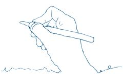 Line Drawing of a Hand Drawing. Blue ink line of a hand holding a pen poised to draw. White Background vector illustration