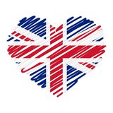 Line drawing heart - UK. Heart country home homeland europe uk great britain england united kingdom scribble like love form icon anniversary logo nation state stock illustration