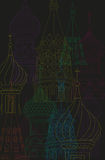 Line drawing illustration moscow city night scene Royalty Free Stock Photography