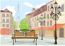 Line drawing illustration of Paris Stock Photo
