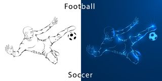 Line drawing. Illustration shows a football player kicks the ball vector illustration