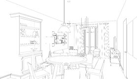 Line drawing of the interior Royalty Free Stock Photo