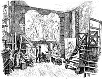 Line drawing of museum interior Stock Image