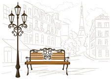 Line drawing of Paris, a bench and a lantern Royalty Free Stock Photo