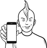 Line drawing of a punk showing a mobile app on a smart phone Royalty Free Stock Image