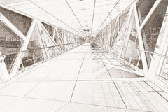 Line drawing rendering of a walkway. Computer illustration based on a photograph of a walkway.  The base photograph is also available at Dreamstime Stock Images