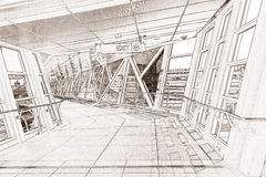 Line drawing rendering of a walkway Royalty Free Stock Photography