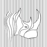 Line drawing of rhino head vector Stock Images