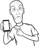 Line drawing of a shocked young man showing a mobile app on a sm Stock Images