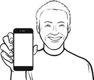 Line drawing of a smiling asian man showing a mobile app on a sm Royalty Free Stock Photo