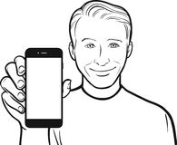 Line drawing of a smiling young man showing a mobile app on a sm Stock Photography