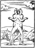 Line drawing of two women