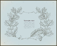 Line drawing vintage banner -blue Stock Image