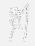 Line Drawing of Walker Vehicle  origInal design produced on 3D CAD. Royalty Free Stock Photo