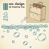 Line drawing of water bubbles for shopping bag. Line art eco design for printing on the shopping bag Stock Images