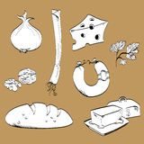 Line drawings of groceries. Stock Photos
