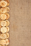 Line,dried figs and burlap for the menu Stock Images