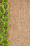 Line, dried kiwi and burlap for the menu Royalty Free Stock Image