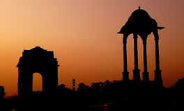 Line Of Duty : india gate. Silhouette of the india gate at New Delhi which is a war memorial constructed for the thousands of brave and courageous soldiers who Royalty Free Stock Photography