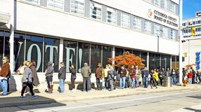 A line of early voters forms along Superior Avenue in Cleveland, Ohio, USA. Two days prior to US midterm elections, voters came out in droves to cast their stock photo