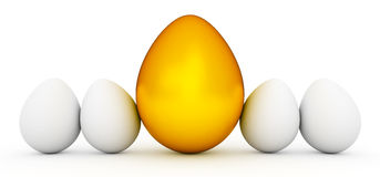 Line of Easter eggs with golden egg Royalty Free Stock Images