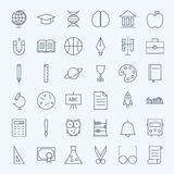 Line Education and Science Icons Set Stock Images