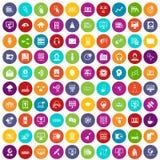 100 on-line-eingestellte Farbe des Seminars Ikonen vektor abbildung