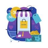 On-line-Einkaufen über Smartphone vektor abbildung