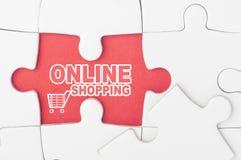 On-line-Einkaufen auf Puzzlespiel Lizenzfreies Stockfoto